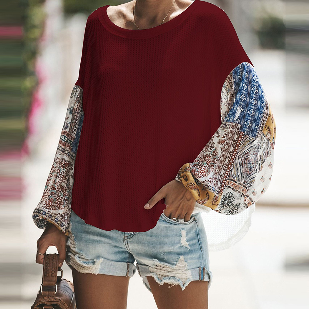 Fashion Women knitting Off Shoulder Patchwork Latern Sleeve Blouse Tops Boho Long Sleeves Casual Beach Loose Shirts Plus Size 4