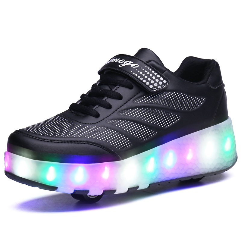 With Switch Children LED Shoes Boys Girls Sports Casual Shoes With Two Wheels Fashion Kids Roller