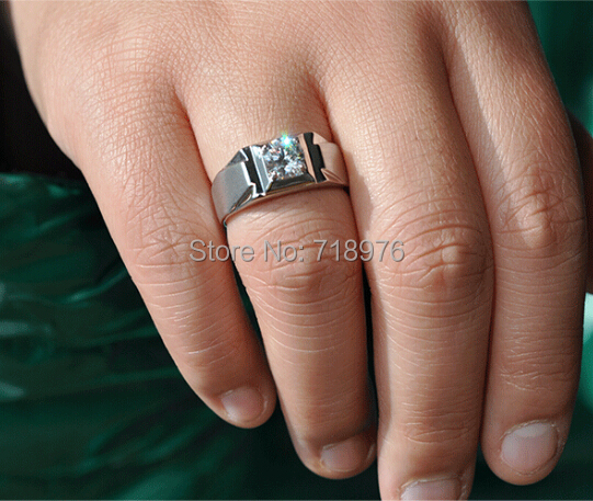 Us 199 99 1 Carat Cushion Cut Simulated Diamond Rings For Man Top Synthetic Diamond I J Halo Wedding Enagement Ring Classic Man Ring In Rings