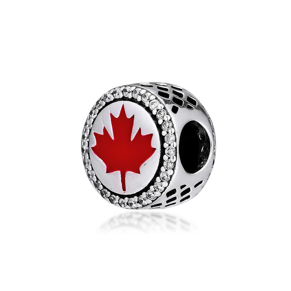 Diy Fits For Pandora Charms Bracelets Canada Red Maple Leaf Marquis Beads 100 925 Sterling Silver Jewelry Free Shipping Beads Aliexpress
