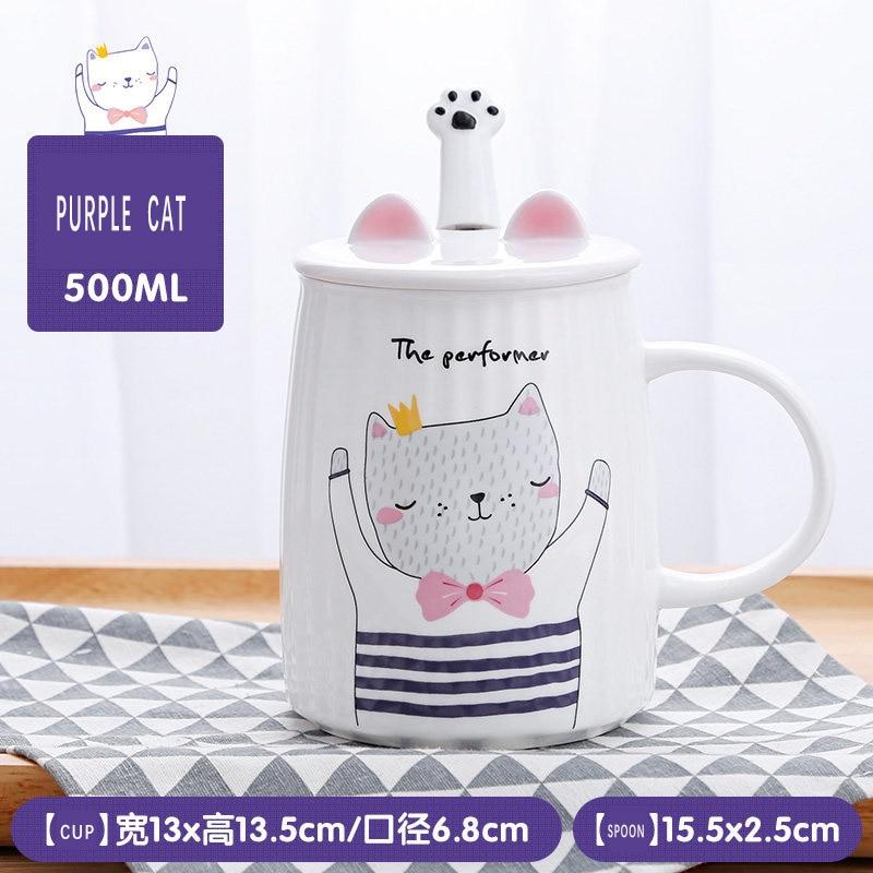 Cute Cat Animal Milk Mug Ceramic Creative Coffee Porcelain Tea Cup Nice Gifts 4 Colour Availiable Cartoon With Lid and Spoon