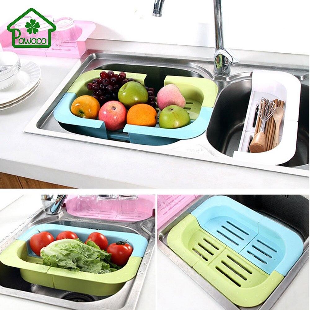 Multifunction Adjustable Kitchen Sink Rack Shelf Dish Cutlery Drying Rack  Holder Fruit Vegetable Drainer Colanders Kitchen