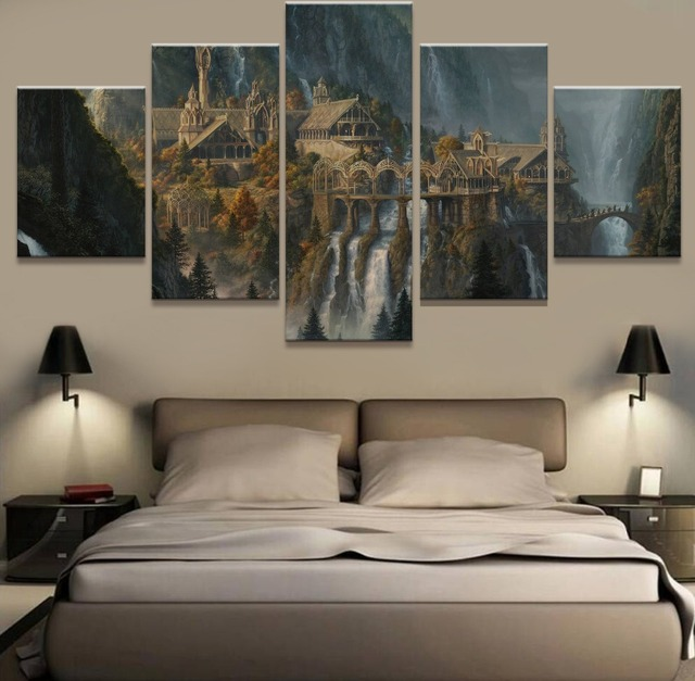 Incroyable Wall Art 5 Panel Painting Lord Of The Rings Modern Home Decor Canvas  Painting Pictures Wall