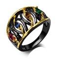 Новые Кольца для девушка черное золото с гальваническим покрытием кубического циркония цвет камень палец Кольцо ювелирных изделий Бесплатная отправка полный размер