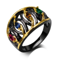New Rings for girl black gold plated with cubic zircon color stone finger Ring fashion jewelry Free shipment full size