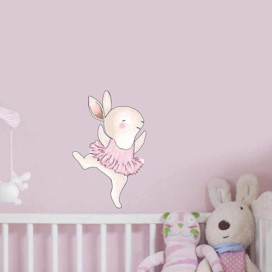 So Cute Cartoon Rabbits Color Wall Stickers For Kids Rooms Decoration Beauty Animals Wall Art Decals Wallpaper Poster Home Decor