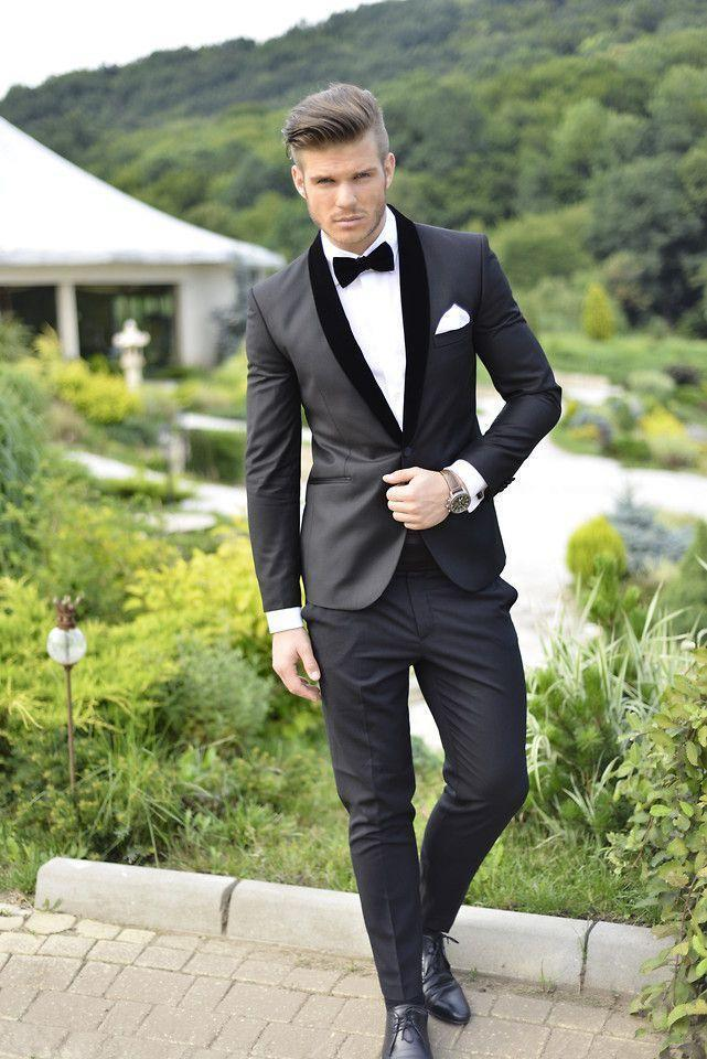 JacketPantTie 2Pieces Best Selling Black2016High Quality One Buttton Shawl Collar Fashion Men Suits Costume Homme Terno Maculino