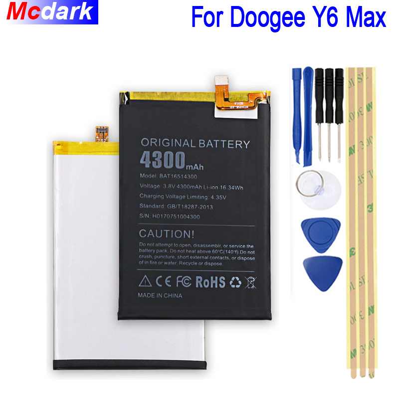 4300 mah Batterie de Grande Capacité Pour Doogee Y6 Max Batterie Bateria Accumulateur AKKU ACCU PIL Mobile Téléphone + Outils