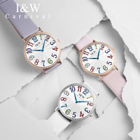Carnival Ultra Thin 6MM Quartz Watches Women Creative Diamond Luxury Clock Ladies Color Number Wrist Watch Relogio Feminino 2018