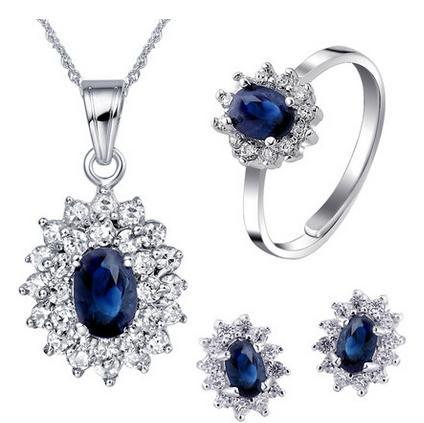 Lovely Princess Jewelry Sets Natural Sapphire Necklace Earrings Ring 925 Sterling Silver Wedding Luxury Birthstone Gift