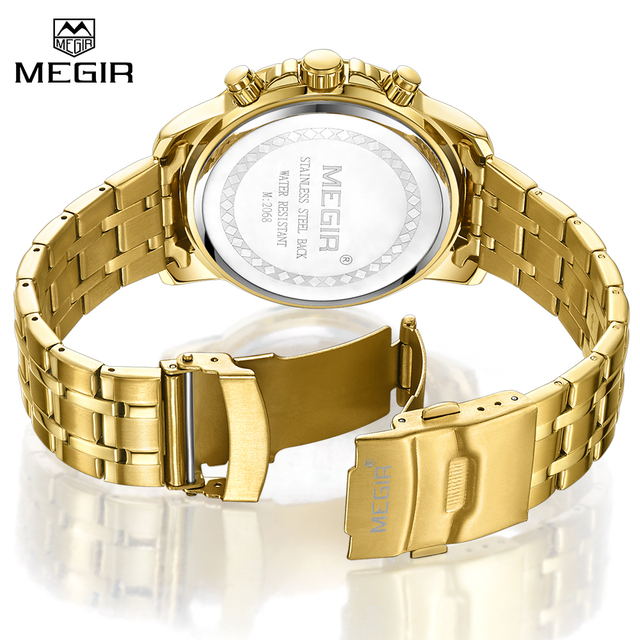 MEGIR Men's Business Stainless Steel Dial Men Chronograph Quartz Watches 2