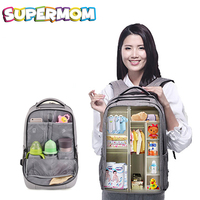 Diaper Bag Backpack Mommy Daddy Travel Nappy Bag With USB Milk Warmer Large Capacity Stroller Accessories Dry Wet Partition