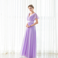 2018 new Elegant Purple Bridesmaid Dress New Arrival Long In Stock Chiffon Wedding Party Gown Plus Size On Sale