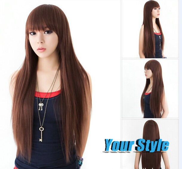2015 New Synthetic Long Straight Brown Wigs Natural Hair Dancy Party