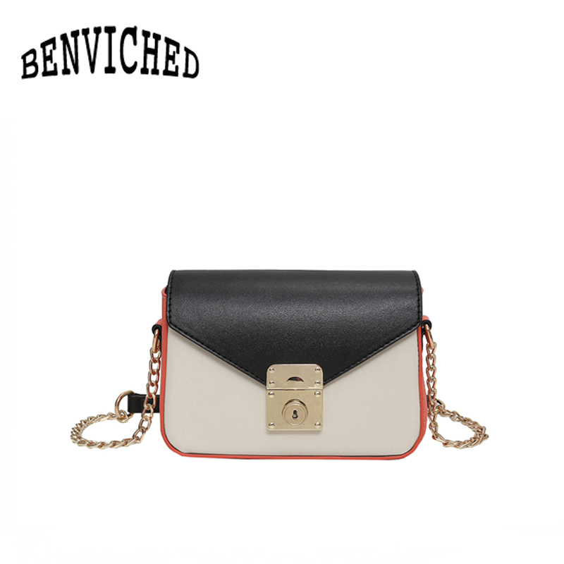 BENVICHED 2018 trend summer new hit color personalized lock small square bag wild chain ladies shoulder Messenger bag R155