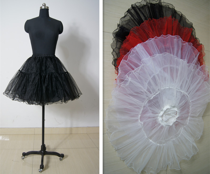 Stock 4 Color Crystal Yarn Cocktail Prom Party Crinoline Petticoat Slips Skirts TUTU In Black, Red,white,Ivory