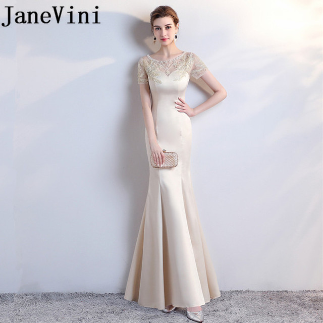 JaneVini Elegant Champagne Long Bridesmaid Dresses with Sleeves Mermaid  Satin Lace Applique Pearls Beads Formal Party Prom Gowns 557bfd6569b6