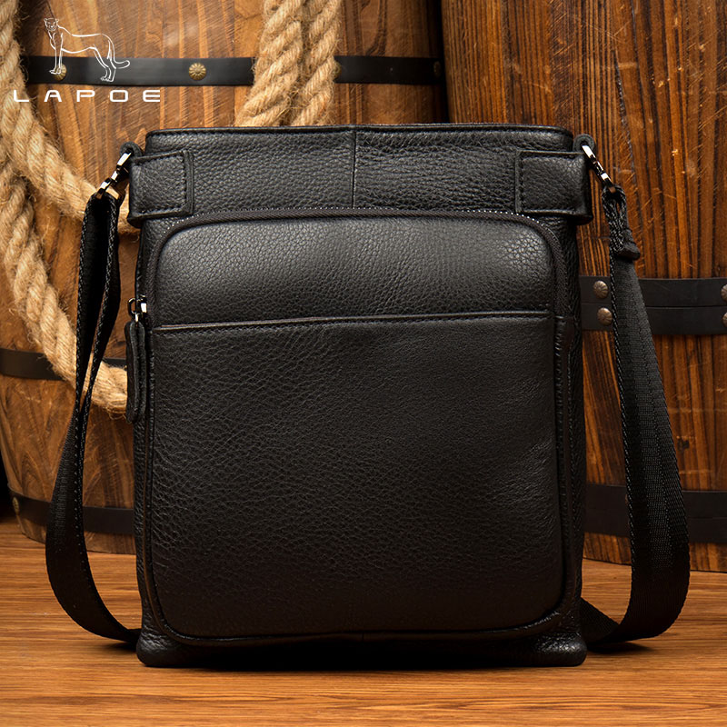 LAPOE Genuine Leather Men Shoulder Bag Fashion High Quality Male Travel Business Soft Leather Small Men Messenger Bags jason tutu promotions men shoulder bags leisure travel black small bag crossbody messenger bag men leather high quality b206