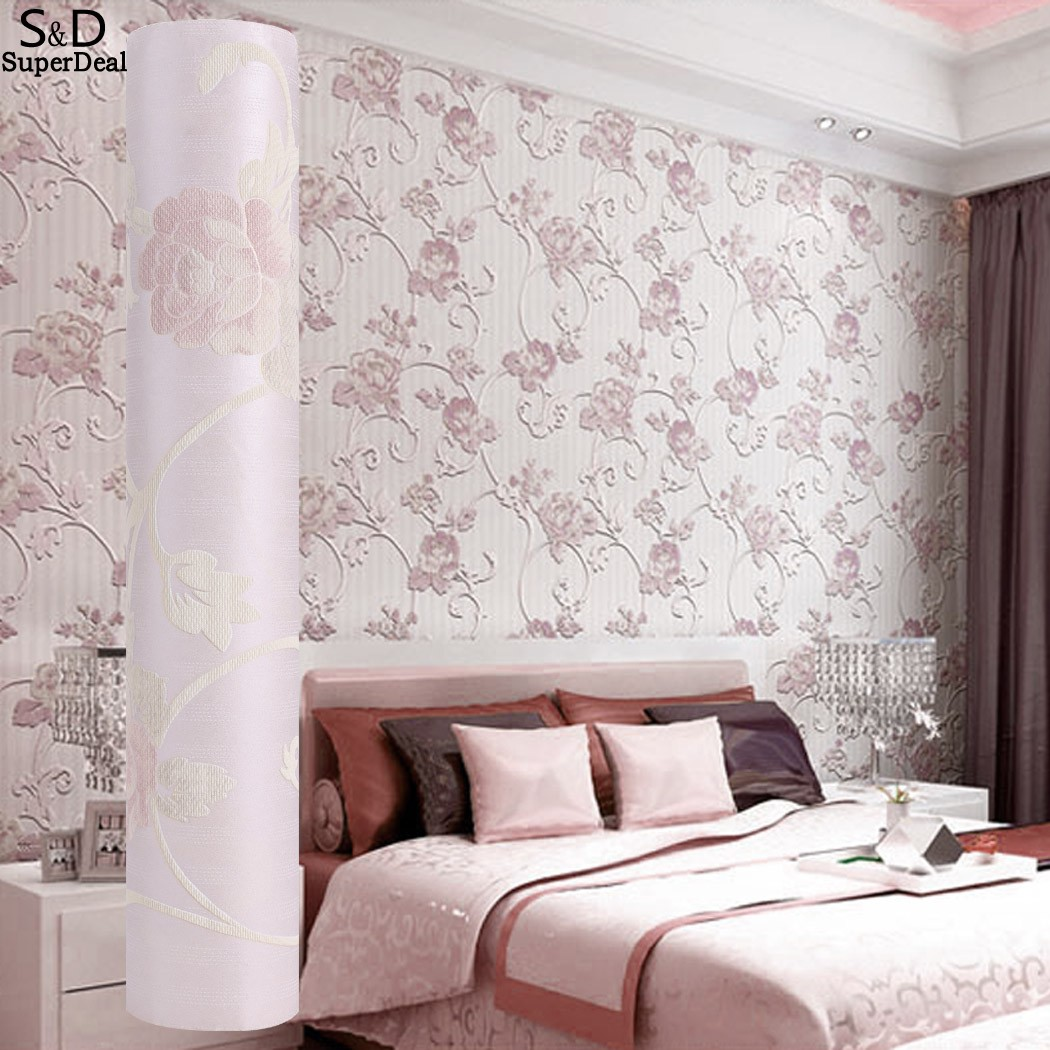 Fashion large 3d relief flower living room bedroom for Living room paper