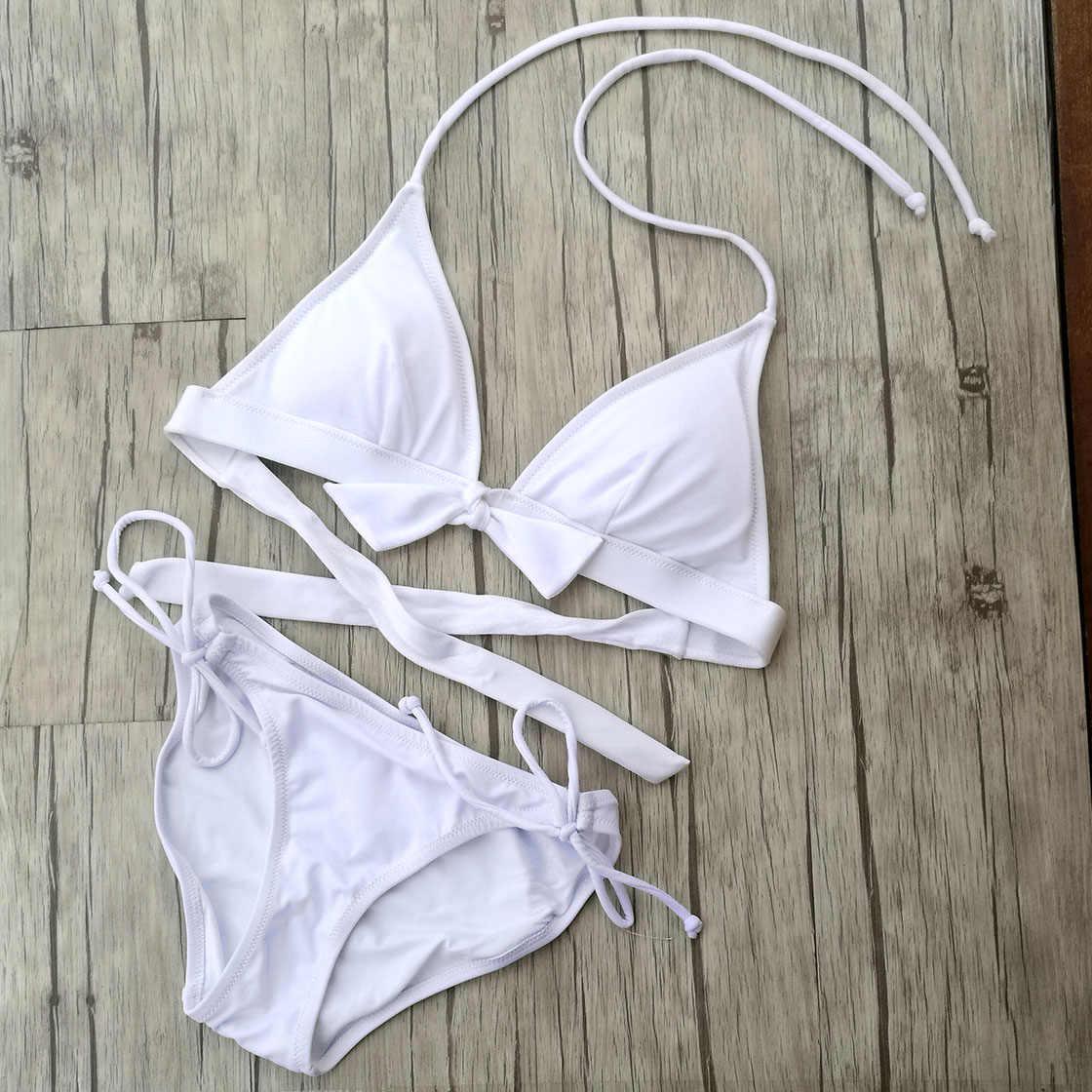 Triangle ensemble Bikini blanc épais coussin de poitrine maillots de bain femmes brésilien Sexy maillot de bain natation conception secrète maillot de bain Bikinis