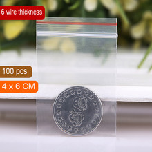 "4x6CM(1.57""x2.36"")thinckness is 0.06mm Small clear poly zipper bags reclosable ziplock bags for jewelry self sealing bags(China)"