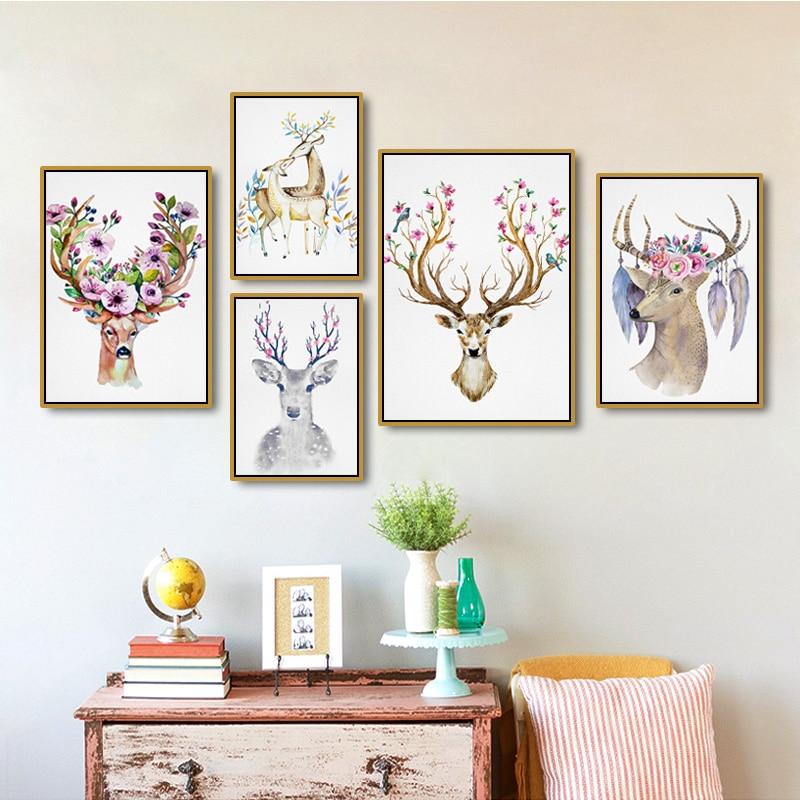 נורדי בעל חיים עדין צבי אמנות קיר ציור - עיצוב לבית