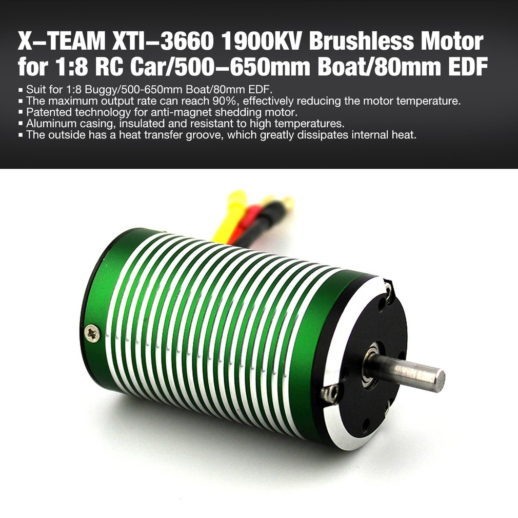 X-TEAM XTI-3660 1900KV 5mm Brushless Sensorless Motor For 1:8 RC Car Buggy/500-650mm RC Boat Ship/80mm EDF Parts
