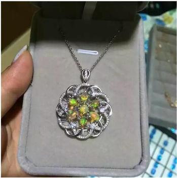 f1c5032e69a7 Natural Opal colgante collar real Natural del envío libre Opal 925 ...