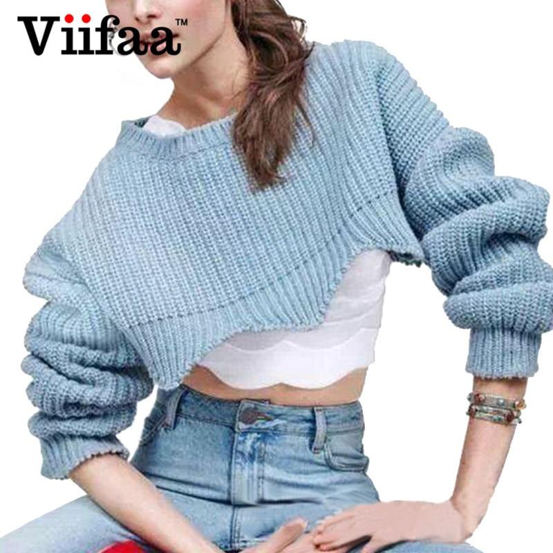 Viifaa Ruffle Short Sweater Jumper Women 2017 Autumn Sexy Pullover Pull Femme Crop Tops Christmas Sweaters