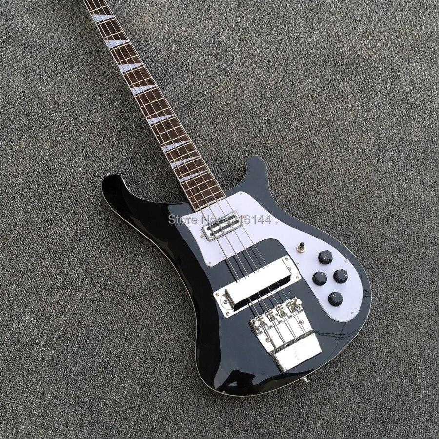 Basse électrique noire de haute qualité à 4 cordes RICK bass, noir clair, toutes les couleurs peuvent être, vente en gros et au détail en usine