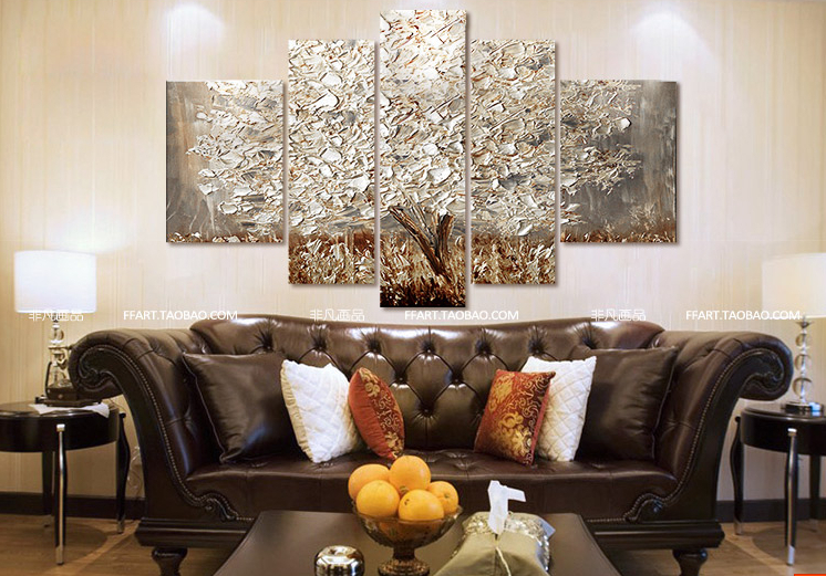 New Paintings Silver Money Tree Home Decor Art Oil Painting 5p Combination Free Shipping In Calligraphy From Garden On Aliexpress
