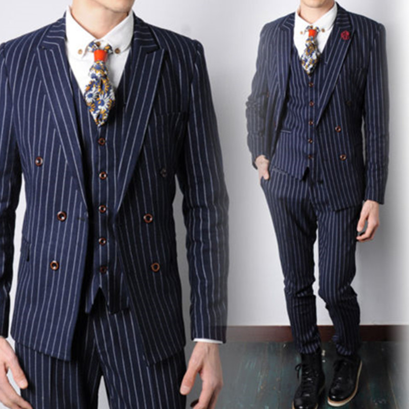 mens designer suits Navy Blue Striped Fashion Men Formal Suits Wedding Suits For Men Party Prom Suit