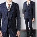 Navy Blue Striped Fashion Men Formal Suits Wedding Suits For Men Party Prom Suit