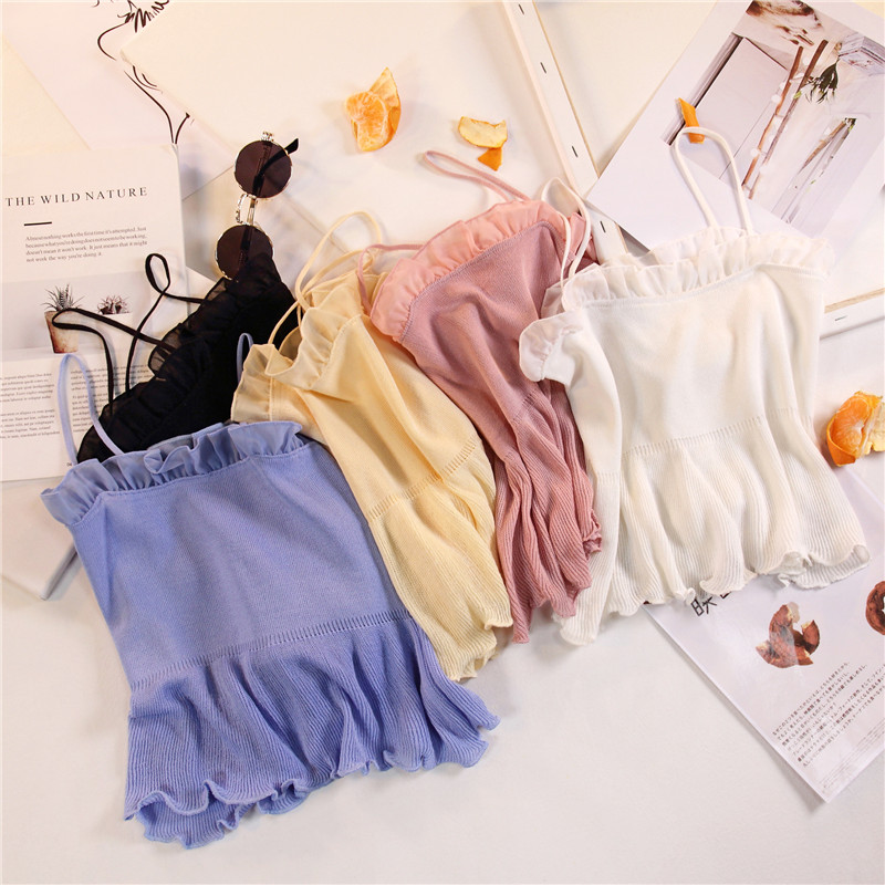 Women Fashion Knitting Patchwork Chiffon Ruffles Neck Cropped   Tanks     Tops   Girls Knitted Tee shirts Camis crop   Tops   Female