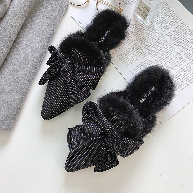 new designer shoes women luxury 2018 butterfly-knot flat shoes women fur mules pointed toe flats slip on shoes for women loafers pointed toe flat mules