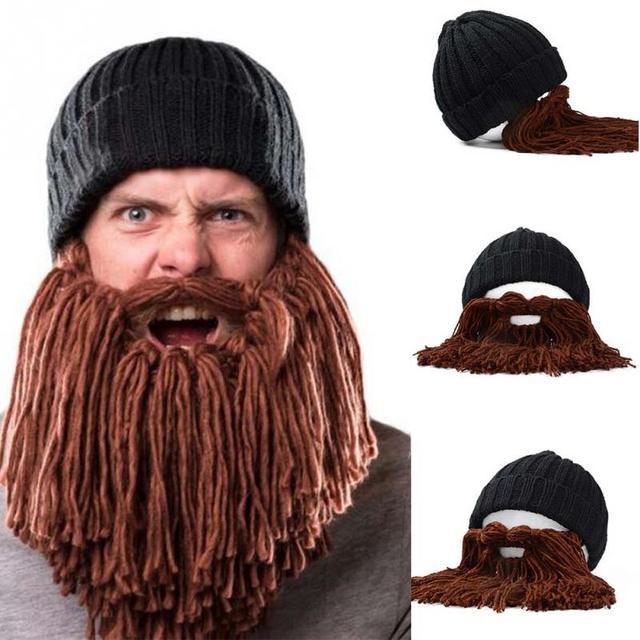 Man Vikings Beanies Knit Hats Beard Handmade Knitted Men s Winter Hats Warm Caps  Women Gift Party Mask Cosplay Cap 3909f2a81