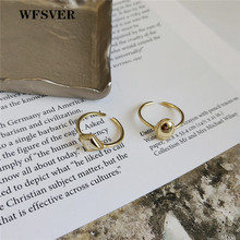 WFSVER korea style 925 sterling silver ring for women fashion gold color geometric opening adjustable fine jewelry gift