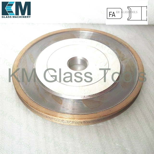 KM D150x22xFA3/4/5/6/8/10/15mm Peripheral Diamond wheel Flat edge with arris,Grinding wheel For Shape Glass Edging Machine,1DD6V