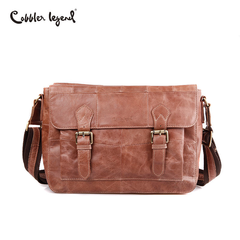 a8507a015204 Cobbler Legend Men Genuine Leather Vintage Messenger Bag Leather Man Travel  Bags Retro Hasp School Bag