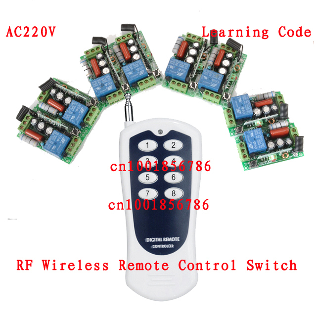 220V 1CH Radio Remote Control Switch light lamp LED ON OFF 8Receiver&1transmitter Learning Code Output Adjusted remote control switch led light lamp remote on off system ac85v ac260v 100v 110v 240v 230v 127v learning code receiver 315 433