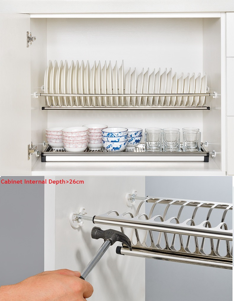 DIY 2 Tier Stainless Steel Cabinet Dish Drying Rack Plate ...