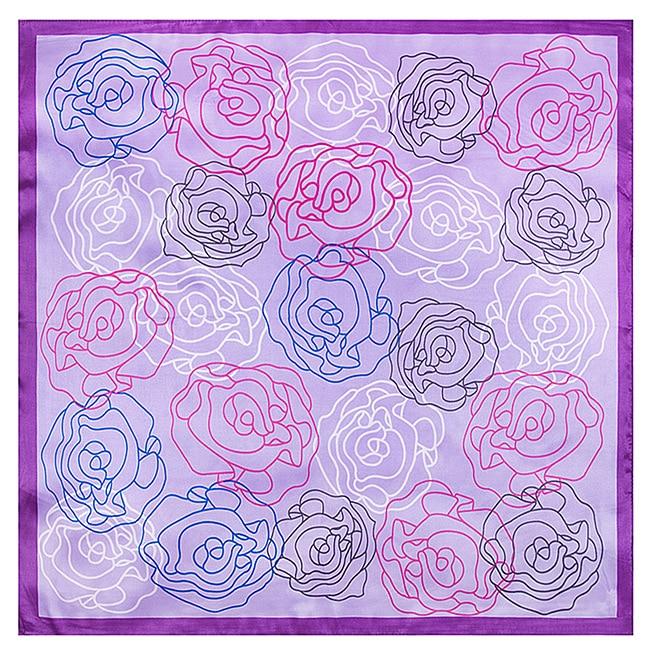 60 Cm * 60 Cm 2017 Qualität Frühjahr Neue Abstrakte Handgemalte Rose Schal Frauen Seidenschal Simulation Platz Schal GläNzende OberfläChe