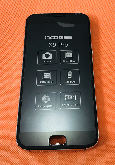 "Used Original LCD Display Screen + Touch Screen + Frame for DOOGEE X9 Pro MTK6737 Quad Core 5.5""HD Free shipping"