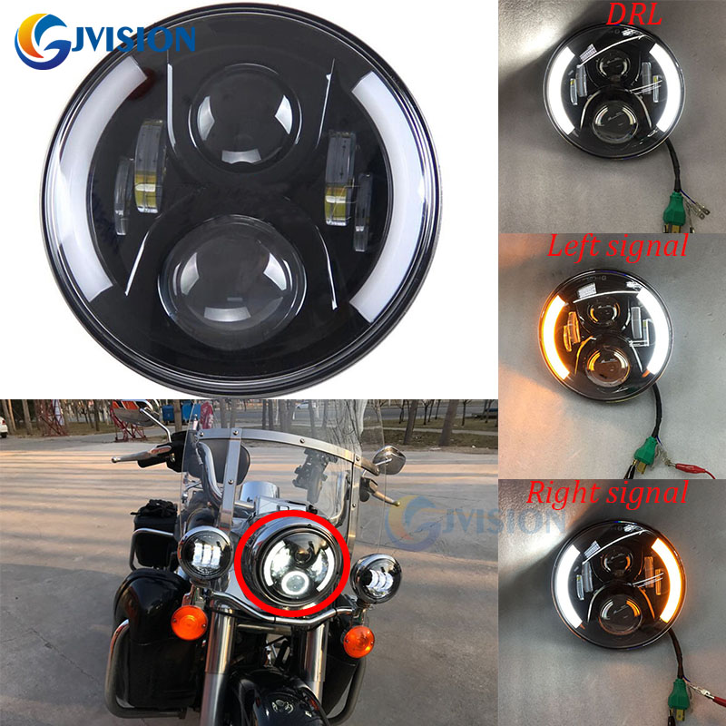 For Davidson Harley Motorcycle 7 inch Daymaker led headlight turn signal DRL Hi/Lo LED Light Bulbs 50W H4 7 Projector headlamp