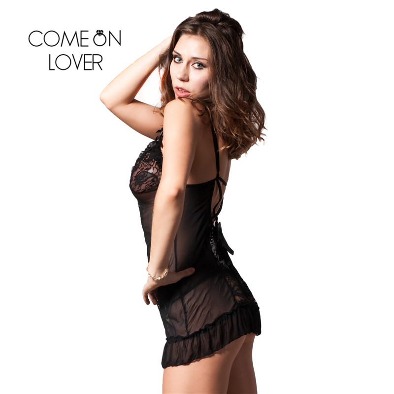 RI7175 Comeonlover Womens Lingerie And Exotic Hot Sale Mini Babydoll Nightwear Lace Black Dress+G string Nuisette Lingerie Sexy 3