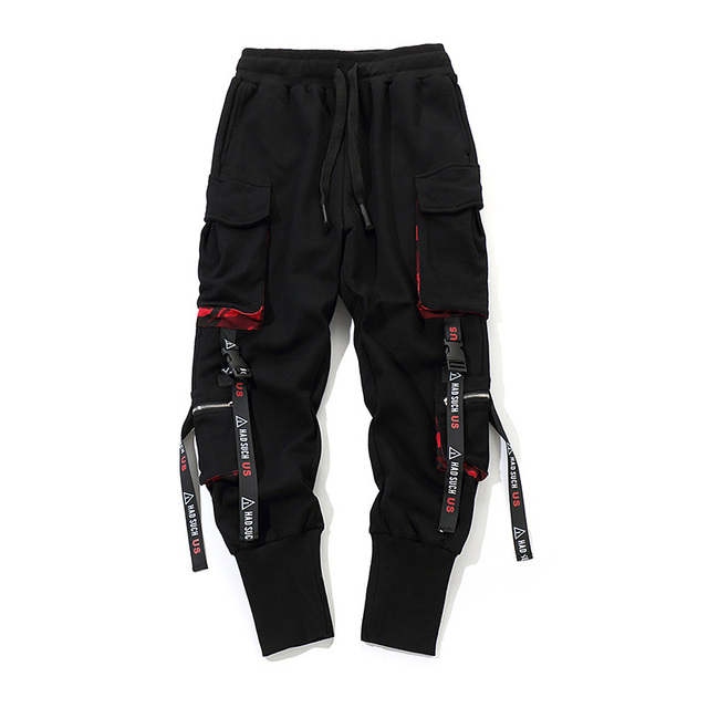 aa6e8bf1625 Men Work Combat Cargo Pants with Pockets Buckle Straps Techwear Trousers  GDD99