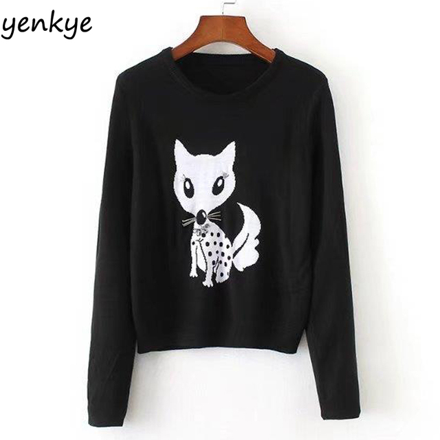 25b61b775b Vintage Women Animal Jacquard Sweater Long Sleeve O Neck Black Basic  Pullover Casual Autumn Sweaters pull femme XZWM17114