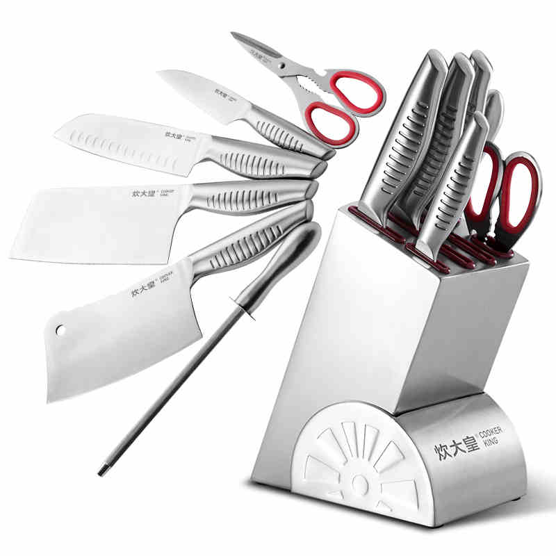 Aliexpress Buy Free Shipping Cooker King Kitchen Knives 7 PCS Set Chef Santoku Chopper Cut Meat Fruit Vegetable Knife Cooking Tool Sharpener From