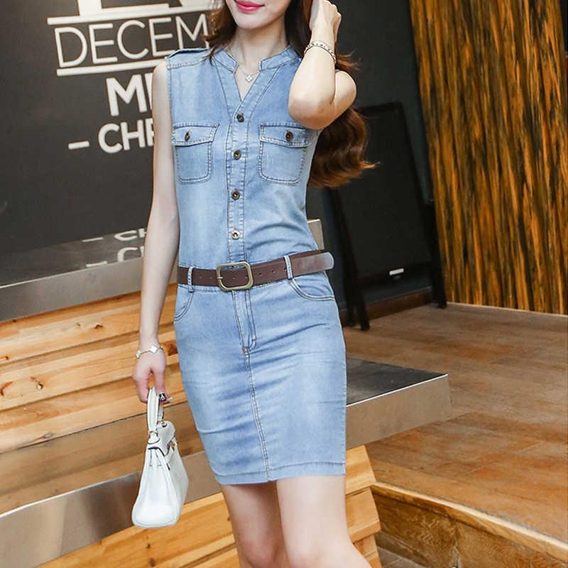 Летнее облегающее джинсовое платье без рукавов с карманами джинсовое платье для стройных женщин сексуальное джинсовое Ковбойское платье короткие джинсовые платья женские Рабочие