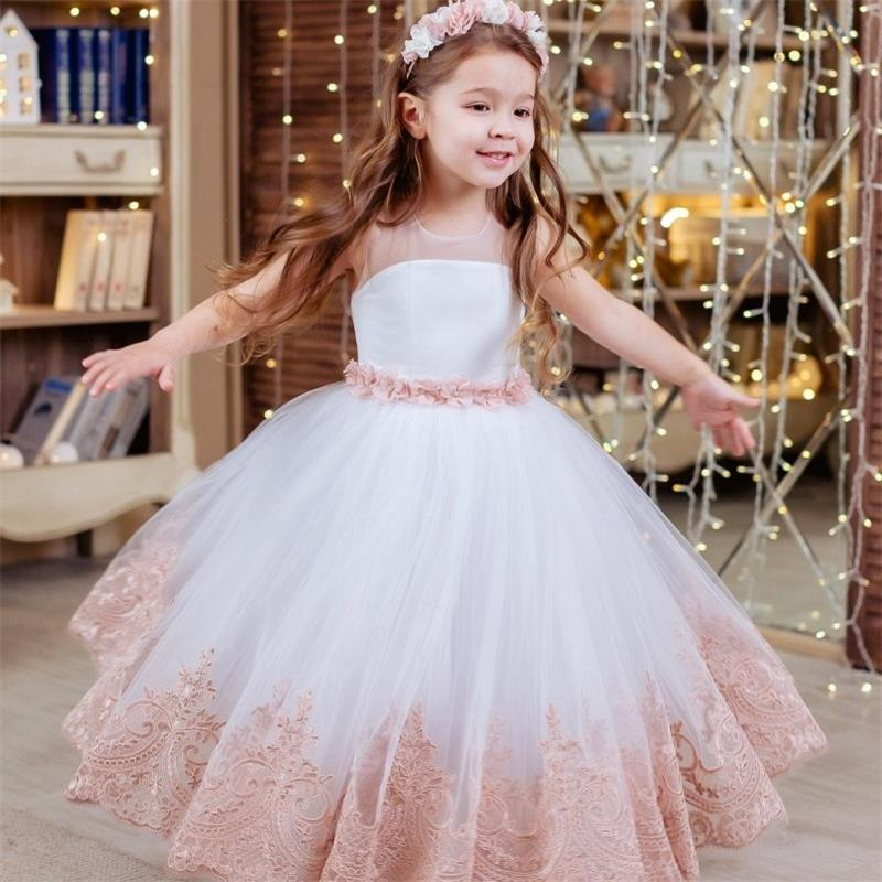 Custom Made   Flower     Girl     Dresses   2019 O Neck Lace Appliques   Girls   Pageant Gowns Cheap Communion   Dress